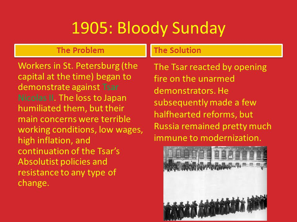 1905: Bloody Sunday The Problem. The Solution.