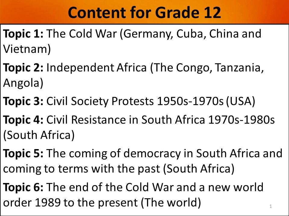 Content for Grade 12