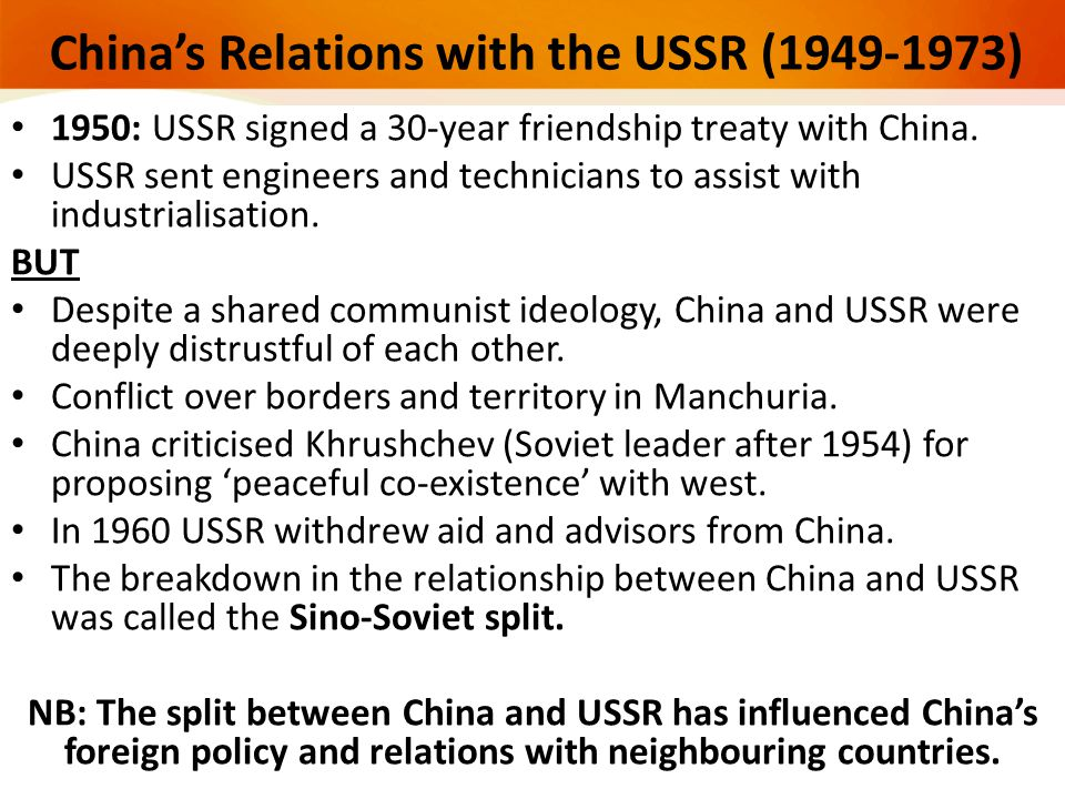China's Relations with the USSR (1949-1973)