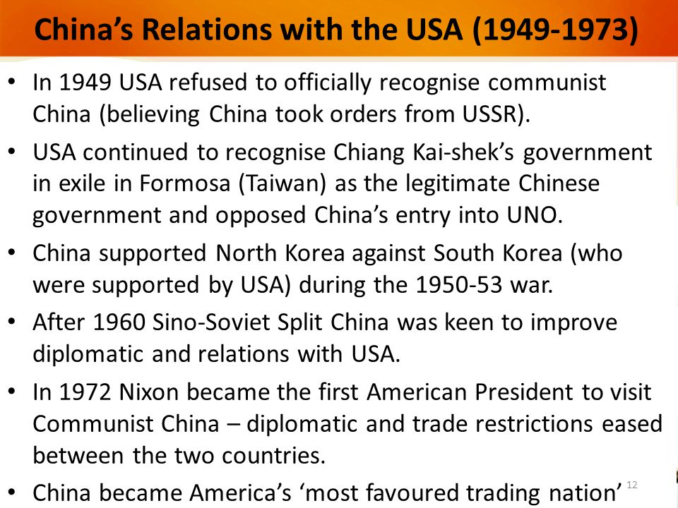 China's Relations with the USA (1949-1973)