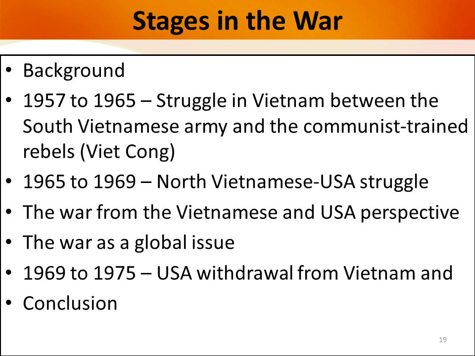 Stages in the War Background