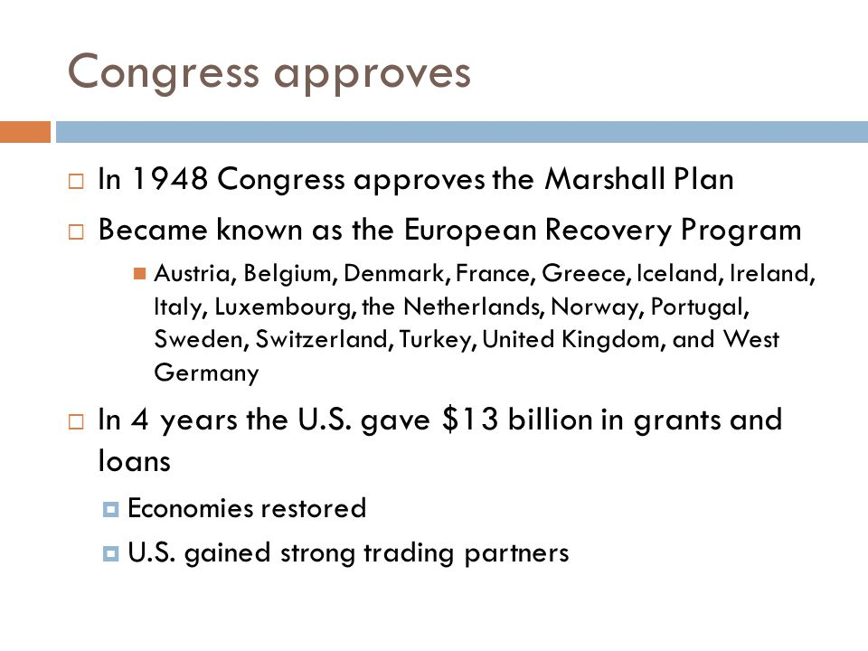 Congress approves In 1948 Congress approves the Marshall Plan