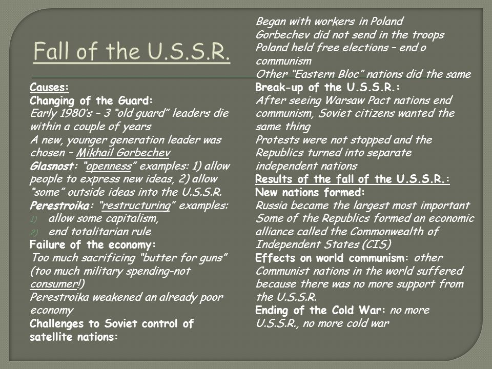 Fall of the U.S.S.R.