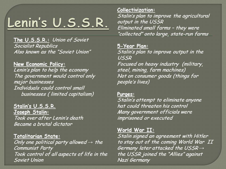 Lenin's U.S.S.R. Collectivization: