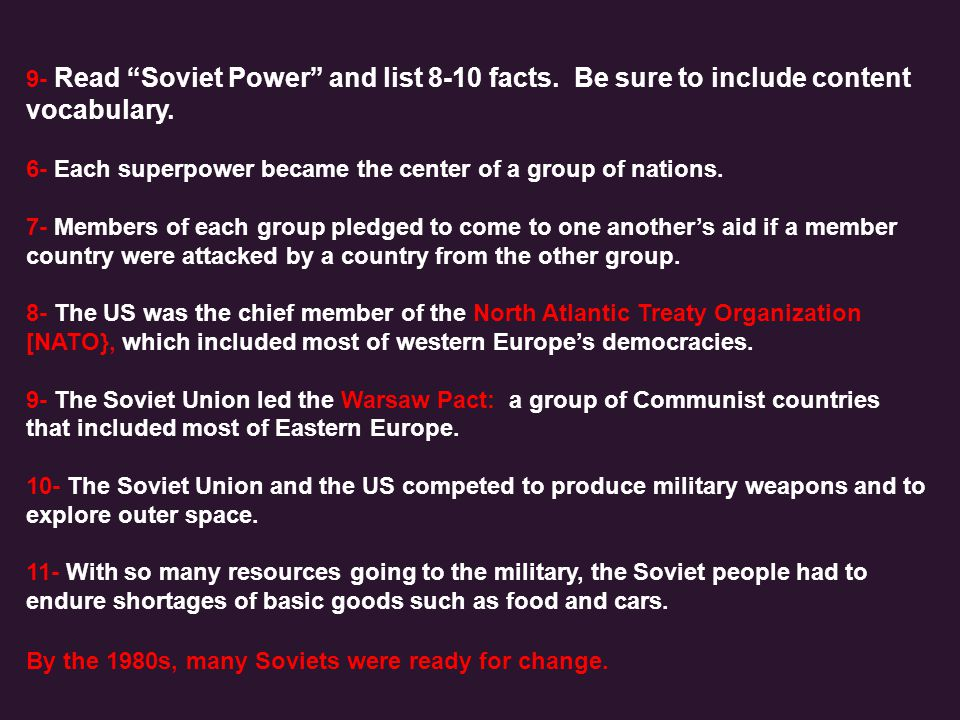 9- Read Soviet Power and list 8-10 facts