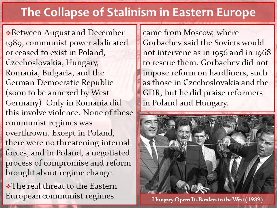 The Collapse of Stalinism in Eastern Europe