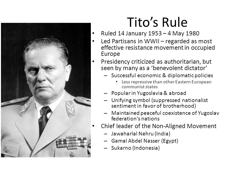 Tito's Rule Ruled 14 January 1953 – 4 May 1980