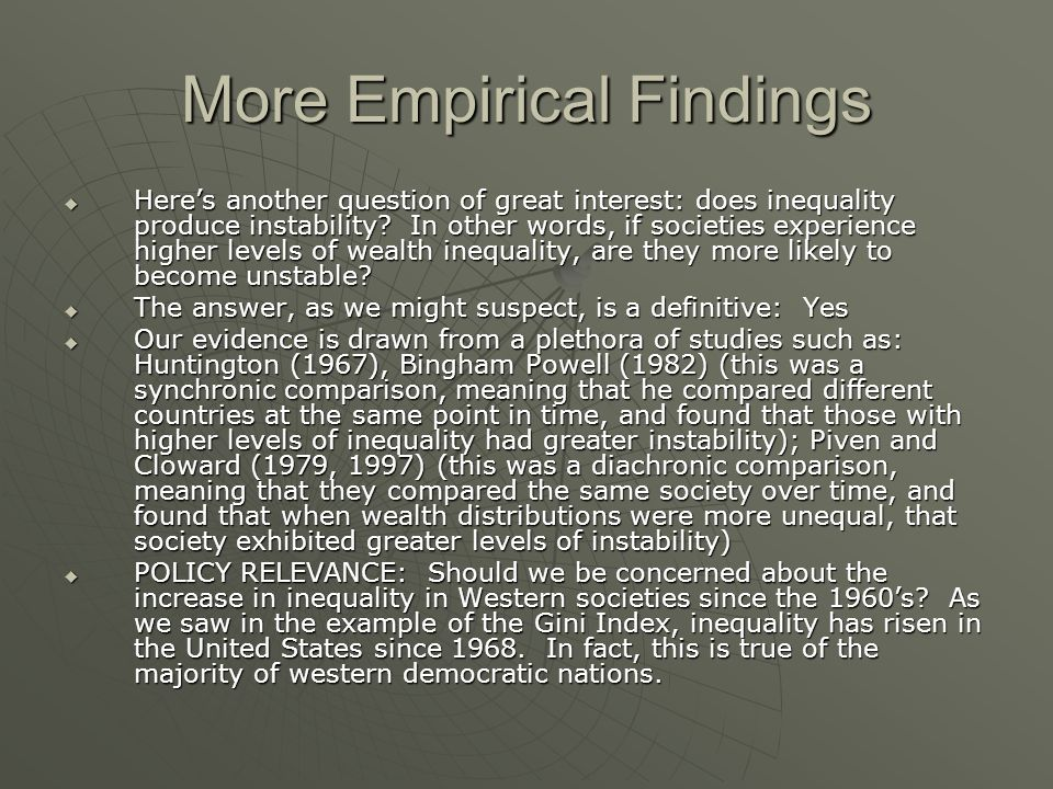 More Empirical Findings