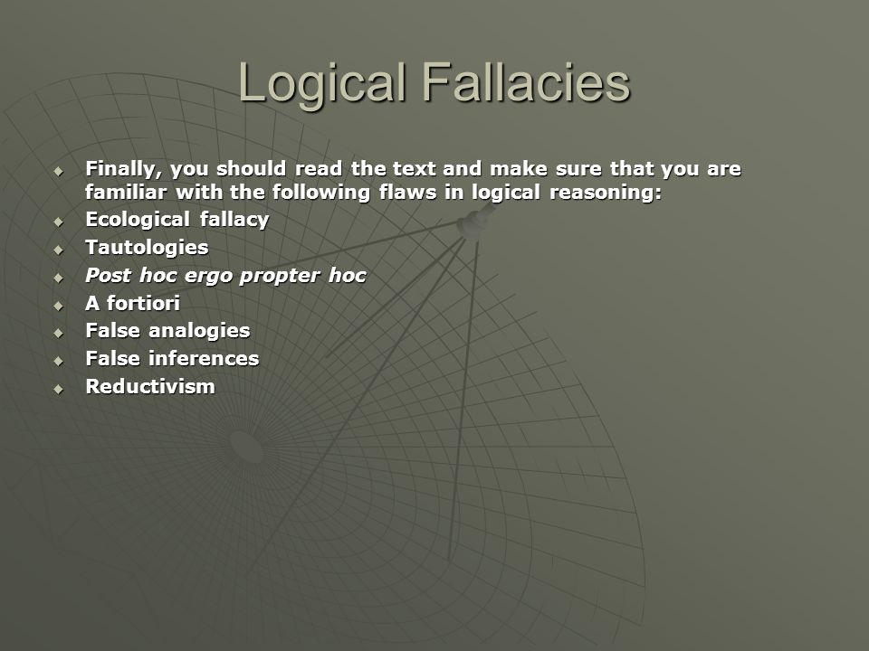 Logical Fallacies Finally, you should read the text and make sure that you are familiar with the following flaws in logical reasoning:
