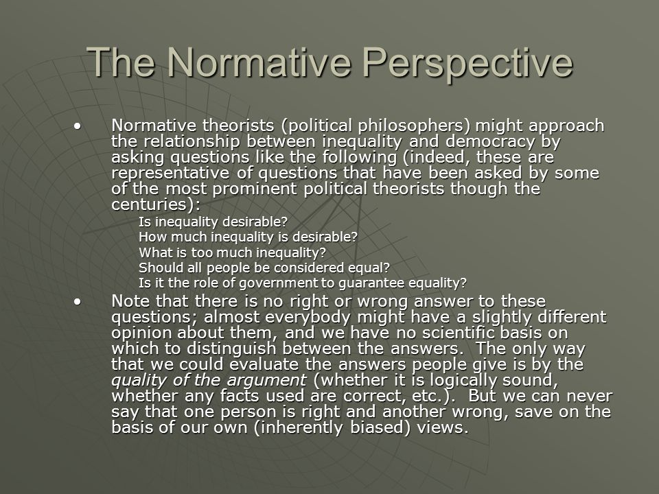 The Normative Perspective
