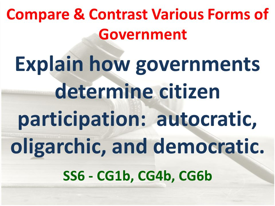 compare democratic forms government united states and grea Both forms of government tend to use a representational system — ie, citizens vote to elect politicians to represent their interests and form the government in a republic, a constitution or charter of rights protects certain inalienable rights that cannot be taken away by the government, even if it has been elected by a majority of voters.