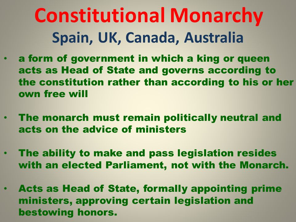 Constitutional Monarchy Spain, UK, Canada, Australia