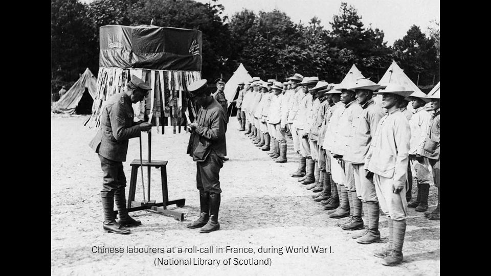 Chinese labourers at a roll-call in France, during World War I.