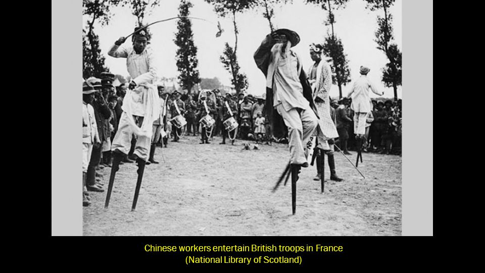 Chinese workers entertain British troops in France