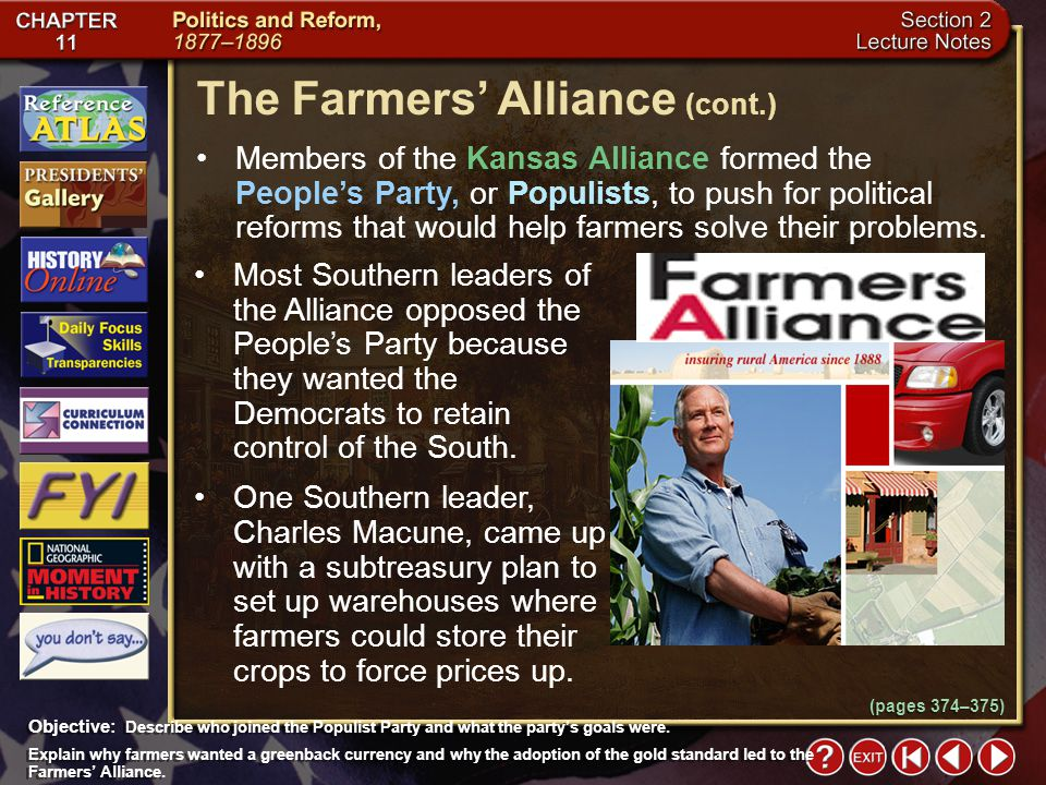 The Farmers' Alliance (cont.)