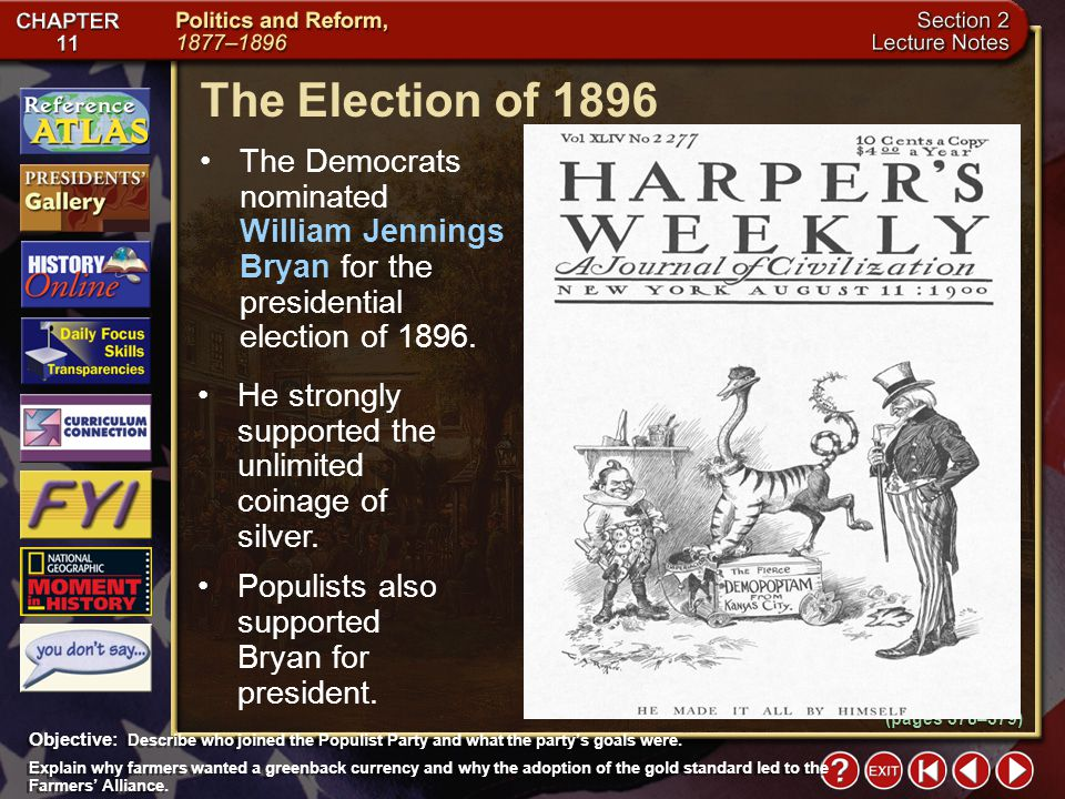 The Election of 1896 The Democrats nominated William Jennings Bryan for the presidential election of 1896.