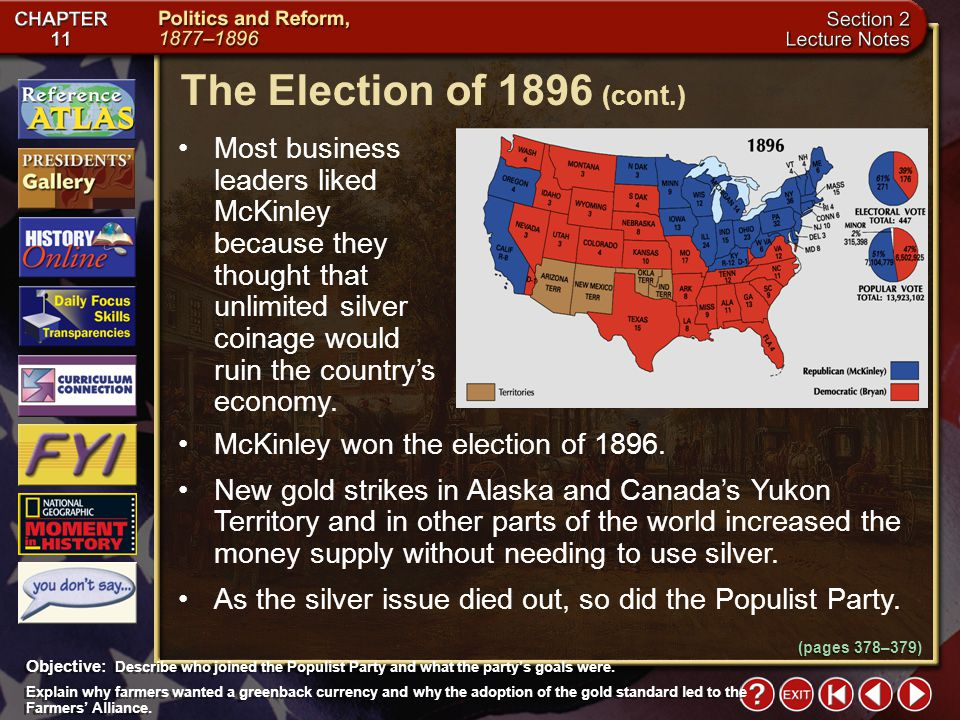 The Election of 1896 (cont.)