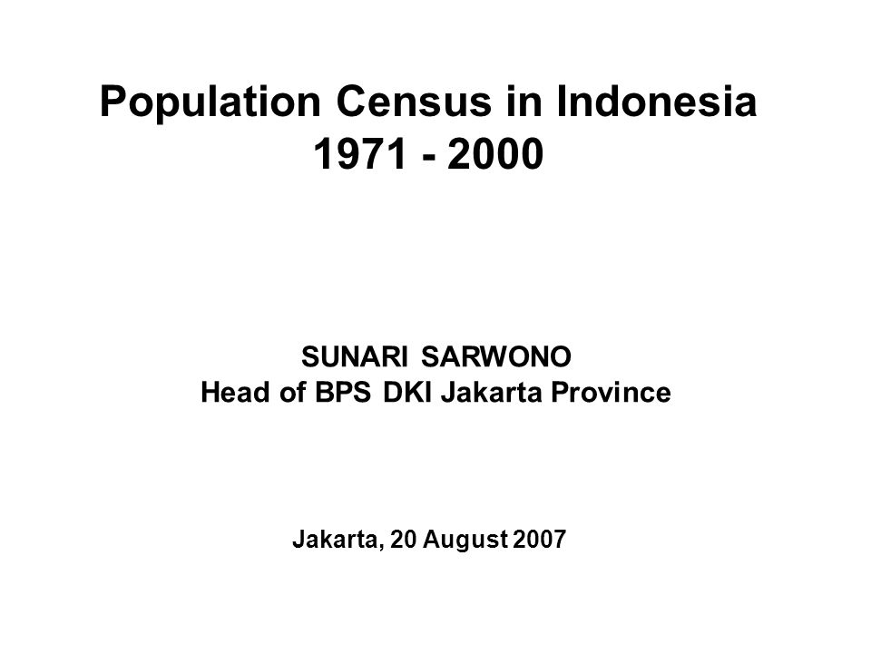 Population Census in Indonesia 1971 - 2000