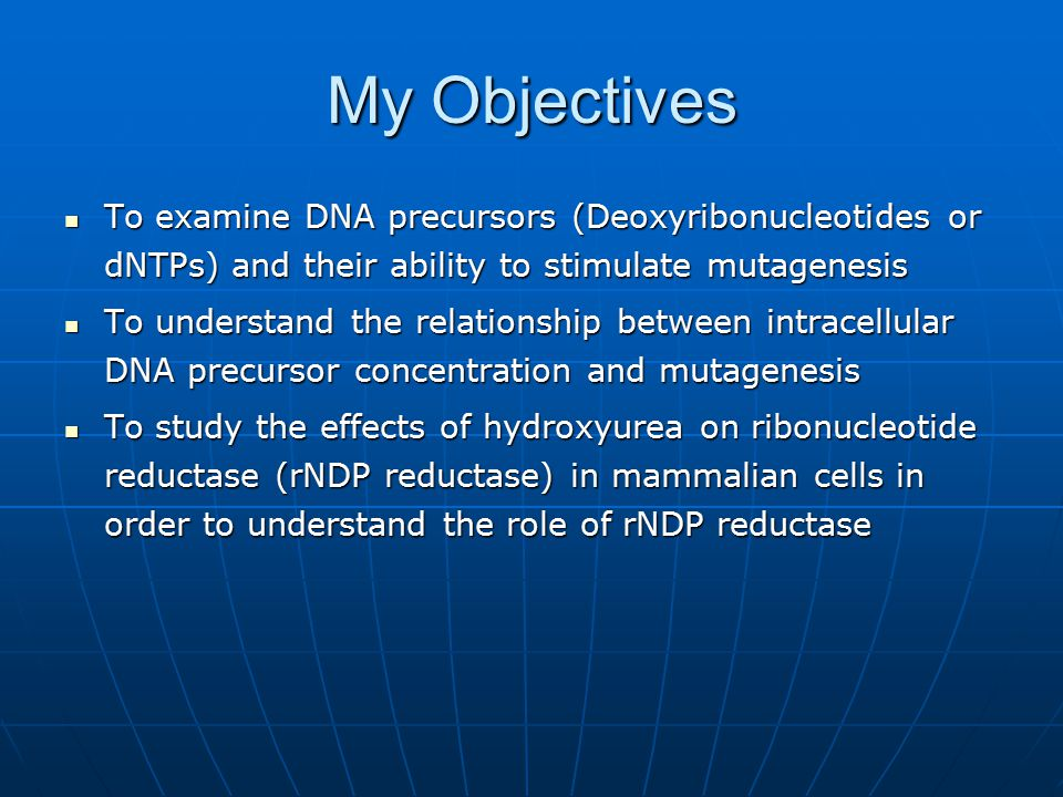 My Objectives To examine DNA precursors (Deoxyribonucleotides or dNTPs) and their ability to stimulate mutagenesis.