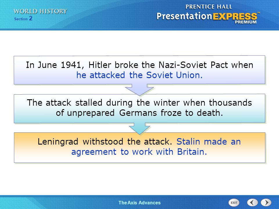 In June 1941, Hitler broke the Nazi-Soviet Pact when he attacked the Soviet Union.