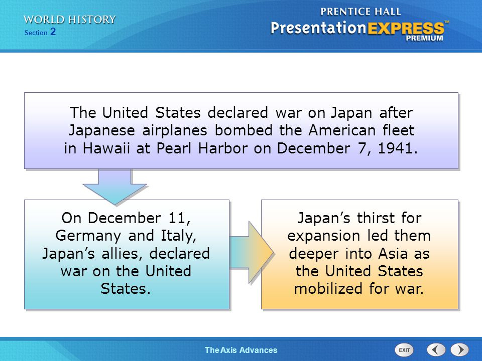 The United States declared war on Japan after Japanese airplanes bombed the American fleet in Hawaii at Pearl Harbor on December 7, 1941.