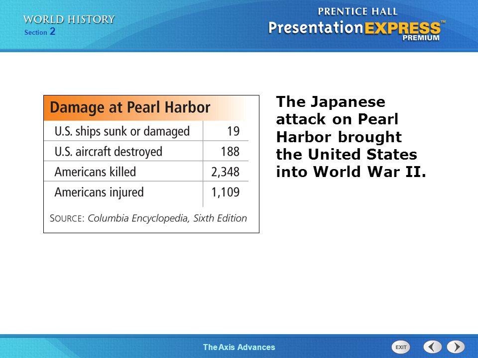 The Japanese attack on Pearl Harbor brought the United States into World War II.