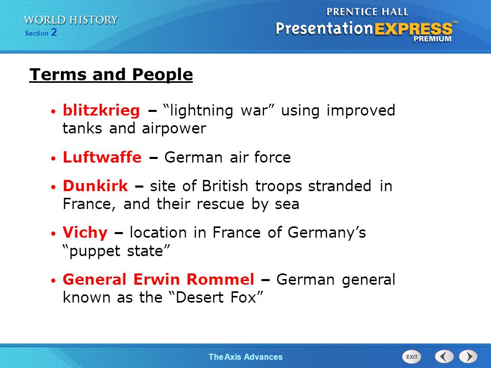 Terms and People blitzkrieg – lightning war using improved tanks and airpower. Luftwaffe – German air force.