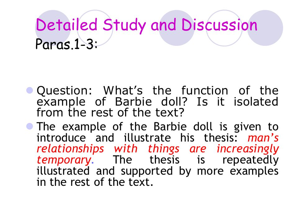 Detailed Study and Discussion Paras.1-3: