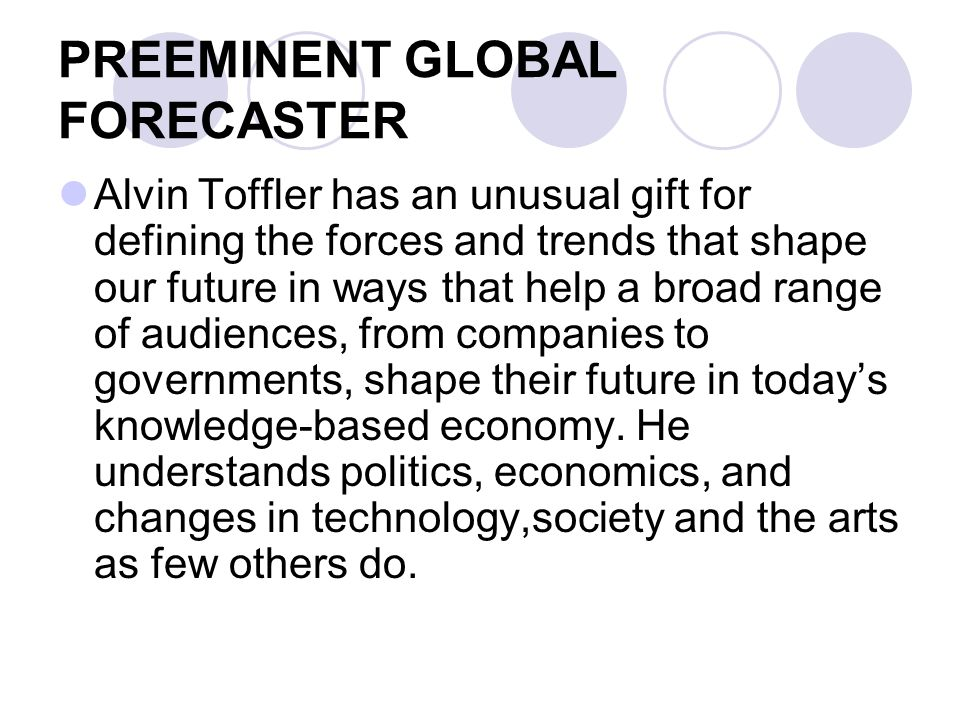 PREEMINENT GLOBAL FORECASTER