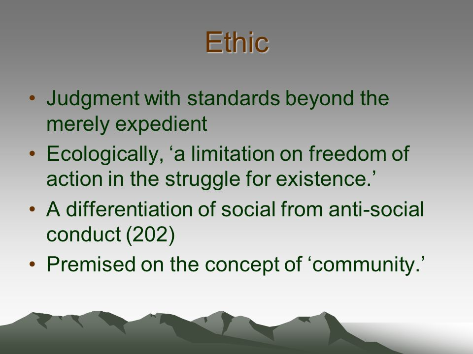 Ethic Judgment with standards beyond the merely expedient