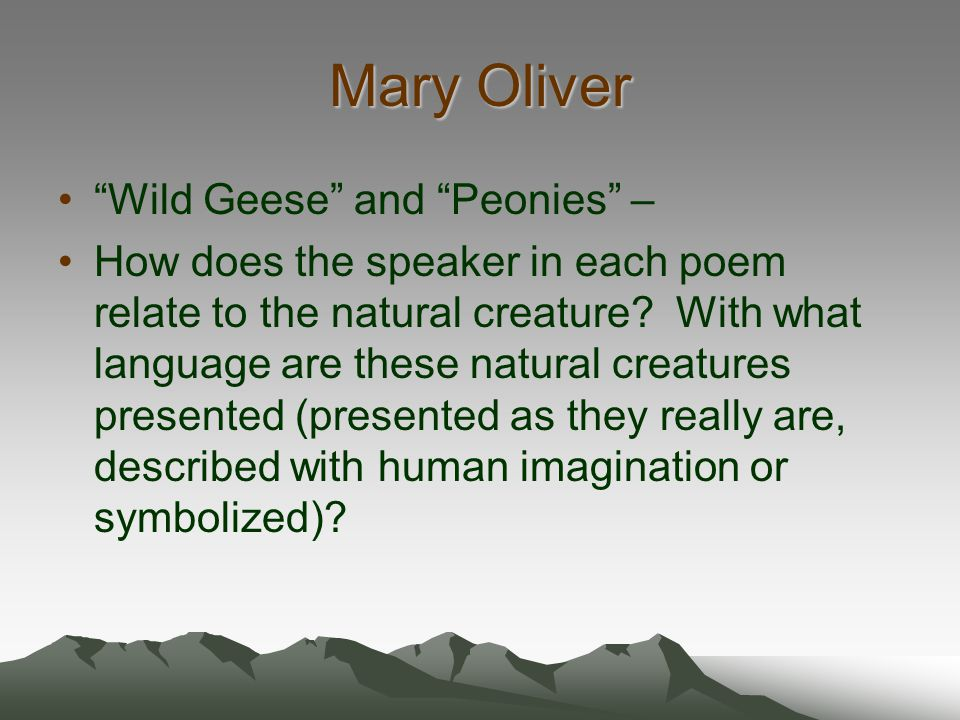 Mary Oliver Wild Geese and Peonies –