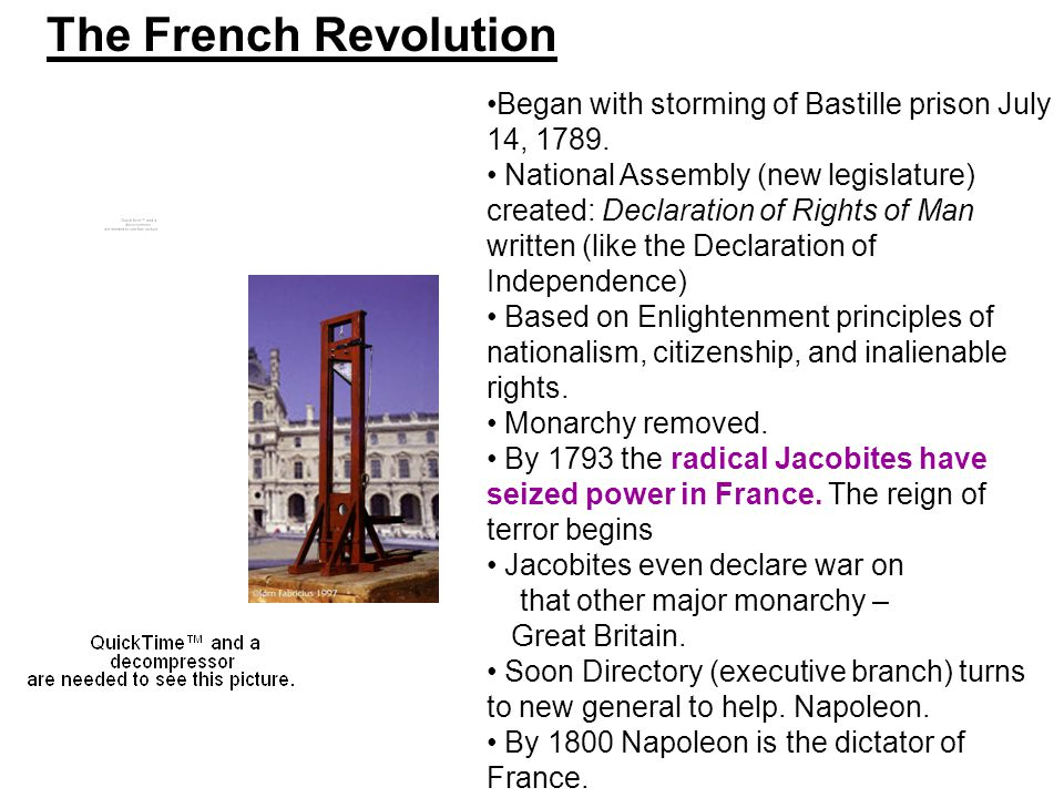 The French Revolution Began with storming of Bastille prison July 14, 1789.