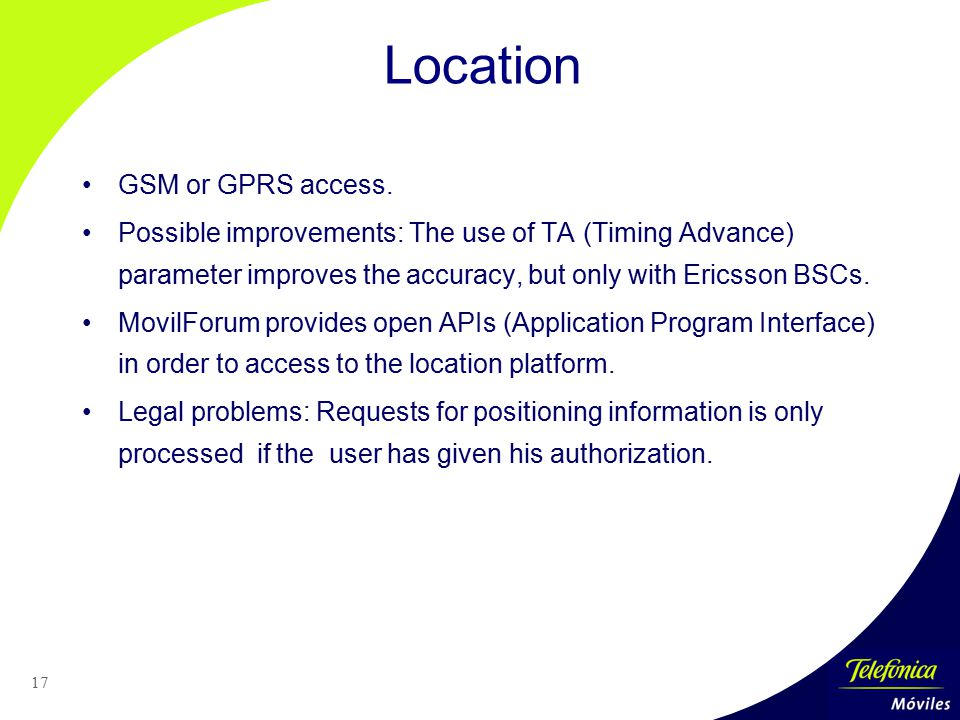 Location GSM or GPRS access.
