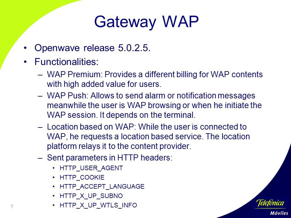 Gateway WAP Openwave release 5.0.2.5. Functionalities: