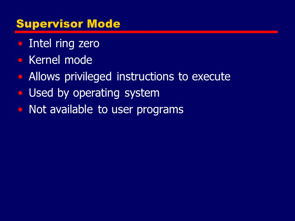Allows privileged instructions to execute Used by operating system
