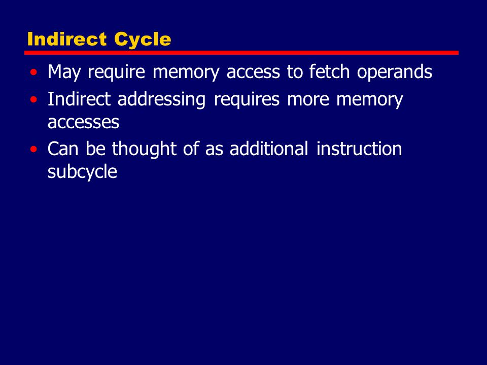 Indirect Cycle May require memory access to fetch operands. Indirect addressing requires more memory accesses.