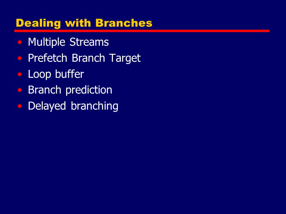 Prefetch Branch Target Loop buffer Branch prediction Delayed branching