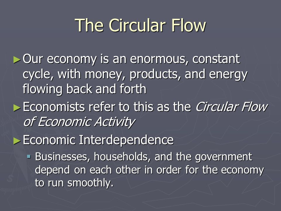 The Circular Flow Our economy is an enormous, constant cycle, with money, products, and energy flowing back and forth.