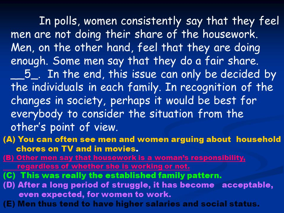 In polls, women consistently say that they feel men are not doing their share of the housework. Men, on the other hand, feel that they are doing enough. Some men say that they do a fair share. __5_. In the end, this issue can only be decided by the individuals in each family. In recognition of the changes in society, perhaps it would be best for everybody to consider the situation from the other's point of view.