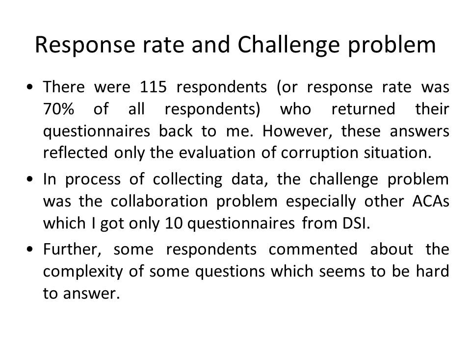 Response rate and Challenge problem