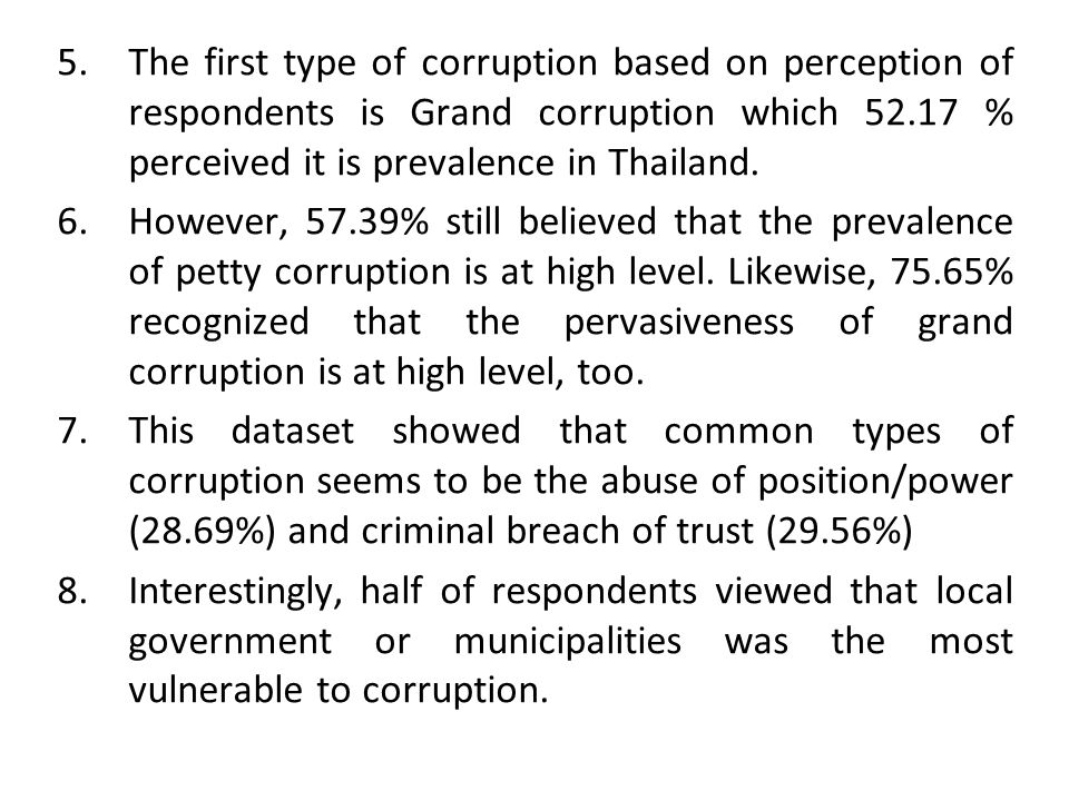 The first type of corruption based on perception of respondents is Grand corruption which 52.17 % perceived it is prevalence in Thailand.