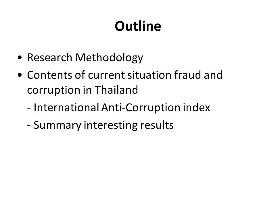 Outline Research Methodology