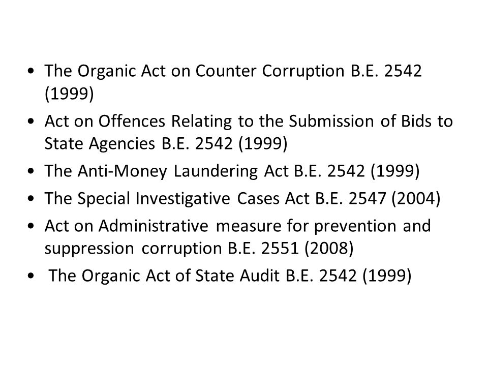 The Organic Act on Counter Corruption B.E. 2542 (1999)