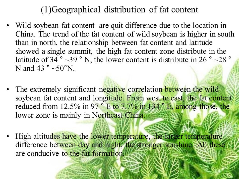 (1)Geographical distribution of fat content