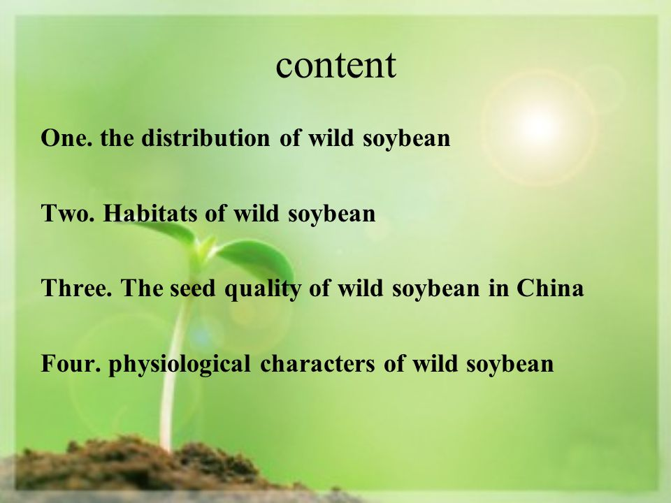 content One. the distribution of wild soybean