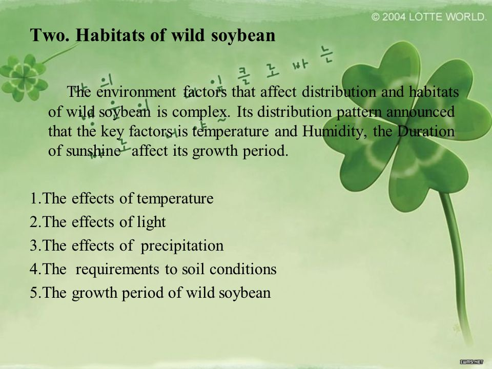 Two. Habitats of wild soybean