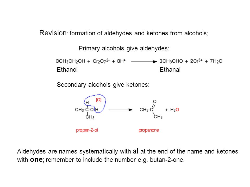 Revision: formation of aldehydes and ketones from alcohols; Primary alcohols give aldehydes: