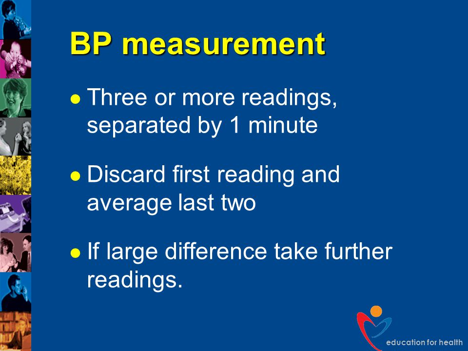 BP measurement Three or more readings, separated by 1 minute