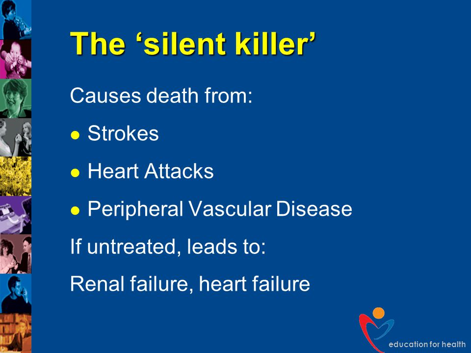 The 'silent killer' Causes death from: Strokes Heart Attacks