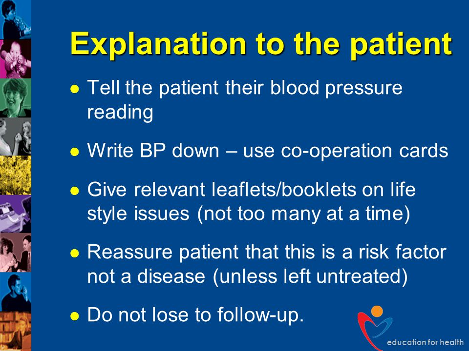 Explanation to the patient